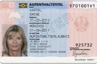 Muster eines elektronischen Aufenthaltstitels (Aufenthaltserlaubnis) in Deutschland