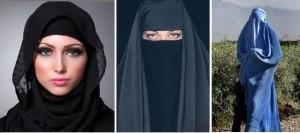 Razlika na slici između hidžaba, nikaba i burke