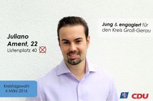 Mladi Juliano Ament, po majci Hrvat a po ocu Nijemac, na listi je CDU-a za okrug Groß Gerau