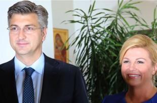 Premijer Andrej Plenković i hrvatska predsjednica Kolinda Grabar Kitarović / Foto: Hina