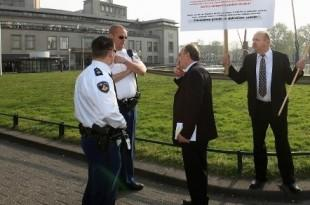 Hrvatski demonstranti ispred suda  u Den Haagu / Foto: Fenix Magazin