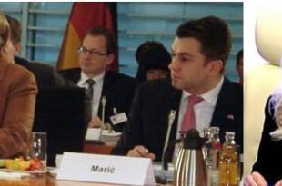 Fotografija kojom je Mijo Marić iz Berlina lažno predstavljan savjetnikom najmoćnije žene svijeta te bivša novinarka Mreže TV Ozana Bašić (desno) koja mu je u to - a bez provjere -povjerovala