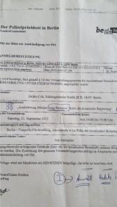 Dokument prijave prosvjeda za izručenje Perkovića Hrvatskoj, od kada za Ćuka počinje uznemiravanja njegova oca u Novom Vinodolskom