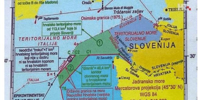 Karta razgraničenja u Savudrijskoj vali /Foto:Screenshot HRT