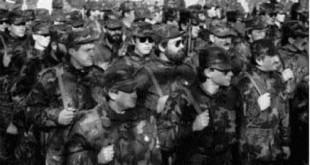 Bojovnici 2 Korculanske satnije bataljuna ZNG u vrijeme polaganja svecane prisege / Foto:ikorcula.net