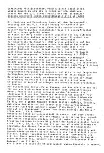 1. Tekst pisma kojim se vođe tadašnje hrvatske emigracije ograđuje od prijetnji atentatom Petra Penave njemackom ministru Baumu te se distanciraju od djelovanja HDP-a