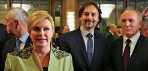 Hrvatska predsjednia Kolinda Grabar Kitarović na Večernjakovoj domovnici u Bad Homburgu u društvu Dražena Klarića i Stipe Puđe
