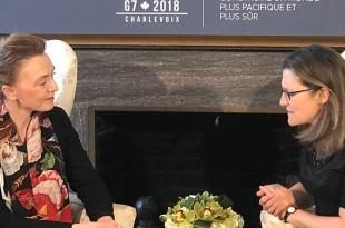 Potpredsjednica Vlade i ministrica vanjskih i europskih poslova Marija Pejčinović Burić sastala se u subotu s kanadskom ministricom Chrystiom Freeland u Torontu u okviru svog posjeta Kanadi / Foto HINA
