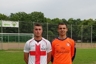 Najzaslužniji za pobedu Posavine Frankfurt strijelac Miroslav Baotić i vratar Nikola Vincetić / Foto: Fenix - D.Pavić