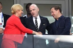 Predsjednica Republike Hrvatske Kolinda Grabar-Kitarović, predsjednik Fife Gianni Infantino, predsjednik Vlade Ruske Federacije Dmitrij Medvedev. foto HINA