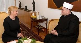 Hrvatska predsjednica i predsjednik Mešihata Islamske zajednice u Hrvatskoj muftija Aziz ef. Hasanović / Foto: Hina