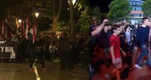 Prosvjed u Mostaru i navijači iz Crne Gore. Foto. Screenshot/Video