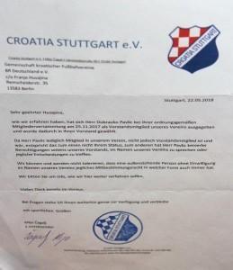 Dopis Croatije Stuttgart / Foto: Fenix