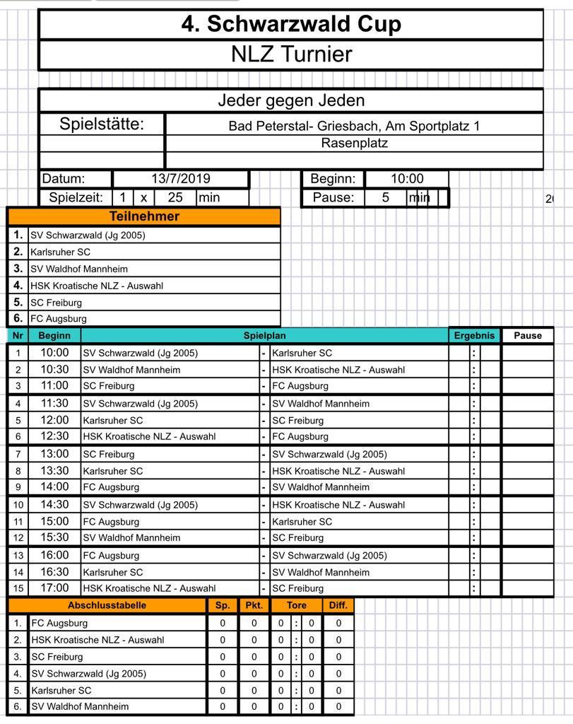 Raspored utakmica Schwarzwald Cupa