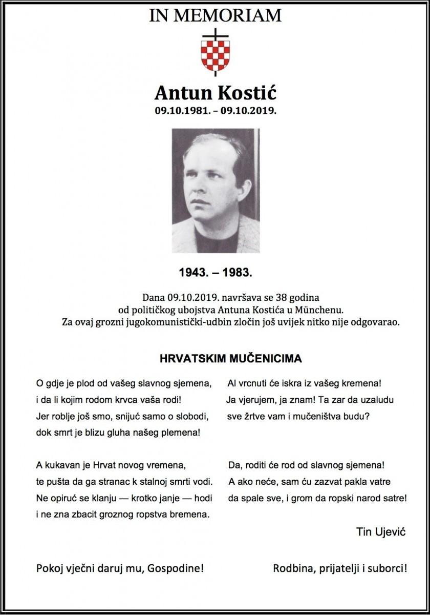 IN MEMORIAM Antun Kostić-2019