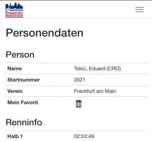Eduard Tokić je polovicu staze istrčao za 2 sata 53 minute i 42 sekunde