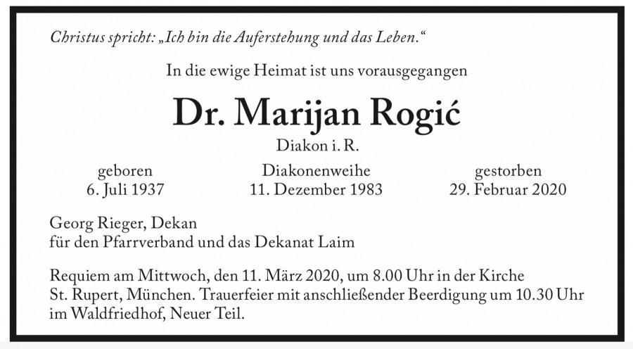 Osmrtnica Marijan Rogic