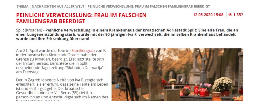 Njemački mediji pišu o skandalu s zamjenom identiteta u KBC Split /Foto. Preslik