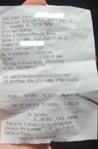 Račun iz mjenjačnice u Puli / Foto: Fenix