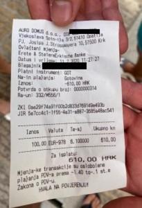 Račun iz mjenjačnice na  Krku / Foto: Fenix (B.Džajkić)