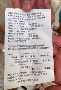 Račun iz mjenjačnice iz Krka / Foto: Fenix (B.Džajkić)