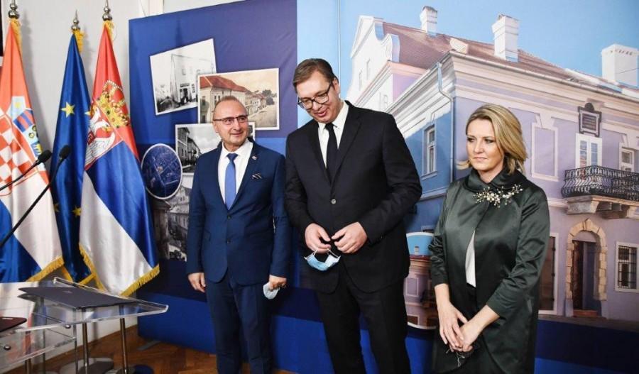 Hrvatski ministar G. Grlć Radman i srbijanski predsjednik A. Vučić / Foto: Fenix (L.B)