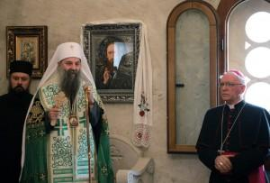 Patrijarh Porfirije i biskup Antun Škvorčević u Jasenovcu / Foto: Hina