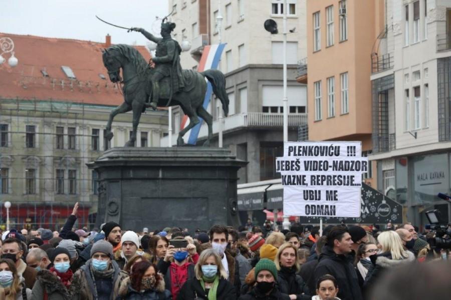 Prosvjed na Trgu bana Jelačića / Foto: Hina
